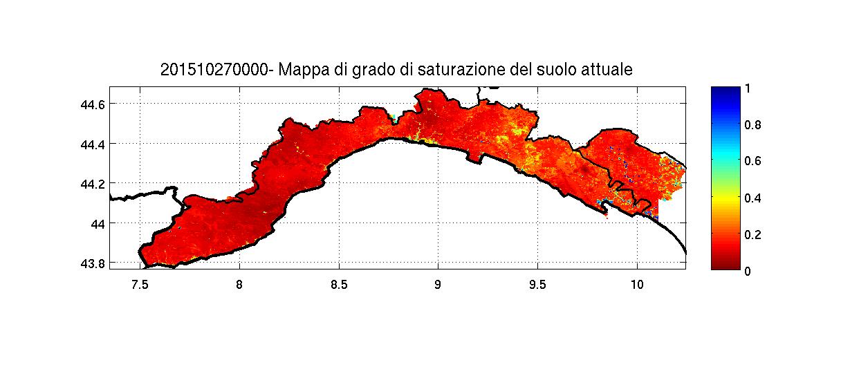 Saturazione del suolo prima della perturbazione. Tutta le regione risulta poco satura.
