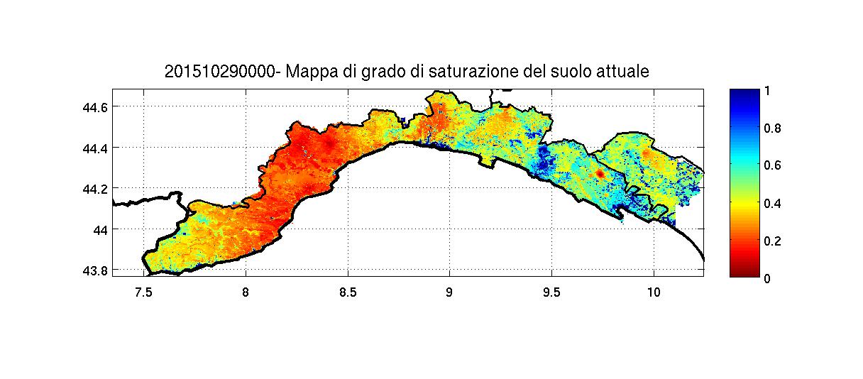 Stato di saturazione del suolo dopo il passaggio perturbato. Le maggiori variazioni si rilevano nel levante.